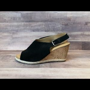 Franco Sarto Black Sueded Cork Wedge Sandal